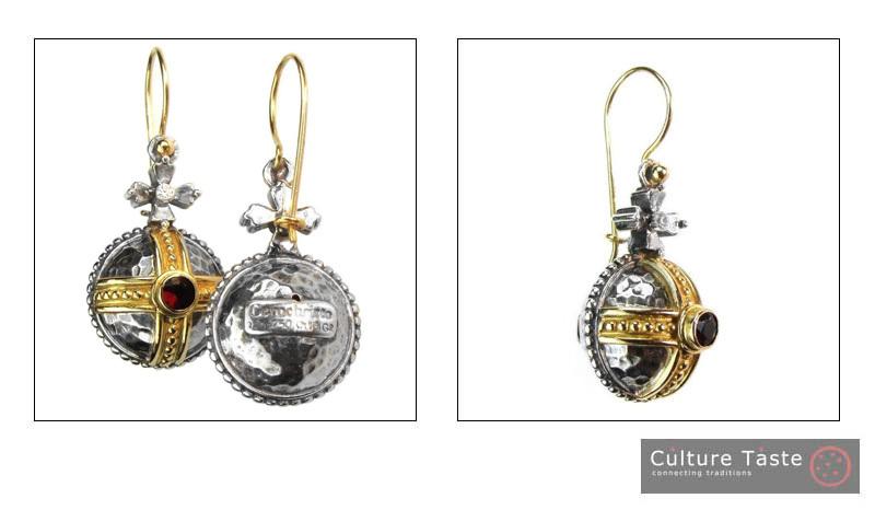 Gerochristo 3063 - Solid 18K Gold, Silver & Garnet Medieval-Byzantine Earrings