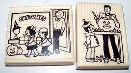 Lot Of 2 Brand New Mounted Rubber Stamps Halloween Costume Shop Pumpkin Carving - $11.99