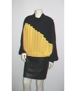 Vintage 80's Black and Yellow Pleated Asymmetri... - $59.99