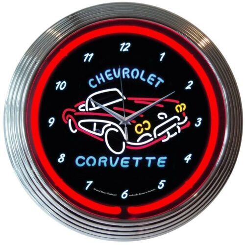 "Primary image for Corvette C1 Chevrolet Car Dealer Mancave Car Garage Neon Sign Neon Clock 15""x15"""