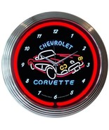 "Corvette C1 Chevrolet Car Dealer Mancave Car Garage Neon Sign Neon Clock 15""x15"" - $69.00"