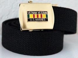 USMC Vietnam Veteran Ribbon Emblem Black Belt & Buckle  - $14.99