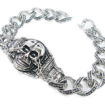 "Stainless Steel Skull Face Chain Men Biker Bracelet 8.5"" - $35.00"