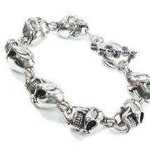 "Stainless Steel Daisy Chain Big Skull Men Biker Bracelet 9"" - $35.00"