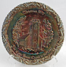 "Fenton Christmas 1970 ""The Little Brown Church In The Vale"" Carnival Plate - $18.00"
