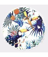 Deep Sea Blue Tropical Birds Pattern Round Beach Towel 100% Terry Cotton... - £20.67 GBP
