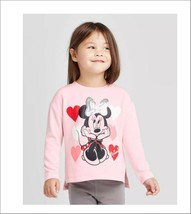 Disney Minnie Mouse Hearts Fleece Crew Sweatshirt Toddler 12 or 18mos   - $12.99