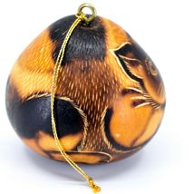 Handcrafted Carved Gourd Art Short Hair Cat Kitten Kitty Ornament Made in Peru image 4