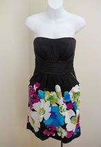 Snap 13 Dress Black Purple Turquoise Floral Strapless Pleated Pockets Prom Party - $14.68