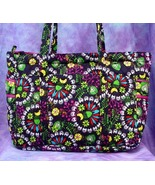 Concord Fiesta Purple Quilted Tote Organizer bag 15x12x5 cross stitch - $32.00