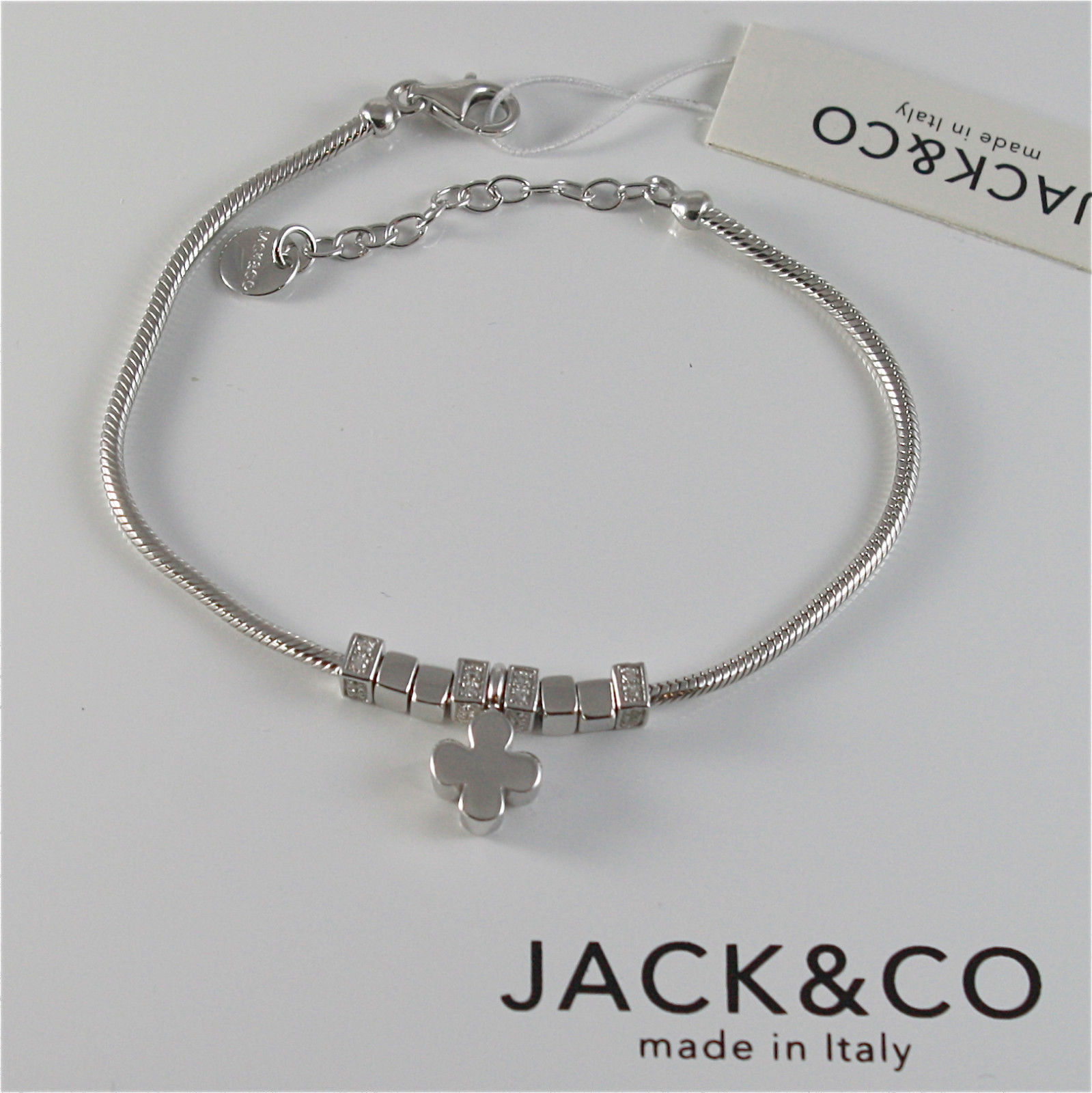 925 RHODIUM SILVER JACK&CO BRACELET WITH SHINY FOUR LEAF CLOVER  MADE IN ITALY