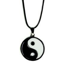 Yin Yang Halskette Emaille Silberfarben Anhänger Charm Schmuck Tai Chi - $6.86