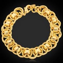 U7® Men's Hoops Chains Bangles 18K Gold/Platinum Plated Trendy Unique Me... - $46.00