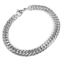 "Stainless Steel Tight Double Link Curb Chain Bracelet 8mm 9"" - $8.20"