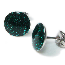 Pair Stainless Steel Round Green Glitters Post Stud Earrings 10mm - $7.49