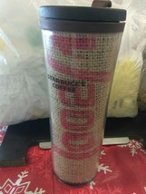 Starbucks 2010 Burlap Coffee Insulated Travel Mug Cup 16 Oz.Screw Lid Bpa Free - $19.99