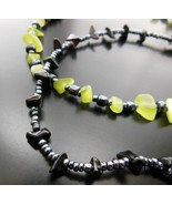 Set Of 2 Steel Blue Black Lemon Lime Glass Seed Bead Ankle Bracelets Jewelry