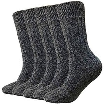 Wool Socks For Women Men 5 Pack-Winter Soft Thick Knit Warm Hiker Cozy Boot Crew image 1