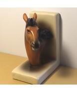 PORCELAIN HORSE BOOKEND VINTAGE BROWN BLACK STALLION FIGURINE MARE STATU... - $49.45