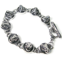 "Stainless Steel Wolf Heads Daisy Chain Men Biker Bracelet 14mm 8"" - $27.00"