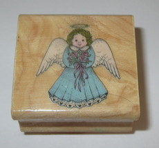 Dainty Angel Rubber Stamp Holding Rose Bouquet Flowers Halo Wings Hero Arts  - $4.45