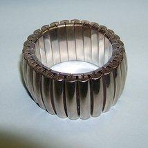 vintage 50s stretchy modern silver chunky bracelet - $9.50