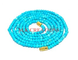 "Natural Turquoise Gemstone 3-4mm Rondelle Faceted Beads 20"" Long Beaded ... - $16.83"