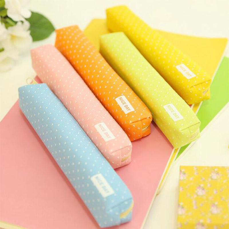 1 Pcs Cute Pencil Case Dot Canvas Pen Bag Stationery Pouch For School Supplies