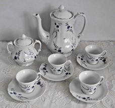French Porcelaine Du Lys Royal LImoges Blue & White Floral Coffee Pot Se... - $206.57