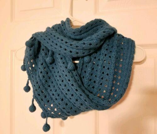Mudpie Knit Teal Blue Pom Pom Infinity Cowl SCARF Wrap Crochet Boho Retro Groovy