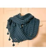 Mudpie Knit Teal Blue Pom Pom Infinity Cowl SCARF Wrap Crochet Boho Retr... - $18.96 CAD