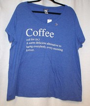 NEW WOMENS PLUS SIZE 3X BLUE  FUNNY  COFFEE  DEFINITION T-SHIRT WITH V-NECK - $15.47
