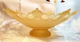 VINTAGE LACE EDGE 9 POINT MATTE LIGHT YELLOW GLASS PEDESTAL CENTERPIECE BOWL image 2
