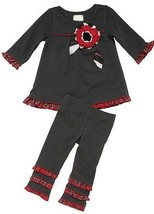 Twirls & Twigs Toddler Girls Top & Leggings Outfit Gray Size 2T Red Plai... - $20.79
