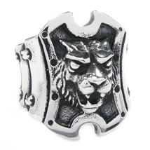Stainless Steel Lion Head Shield Men Biker Ring US Size 12 - $12.99