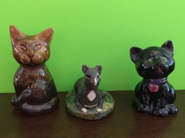 Lot Of 3 Vintage Handcrafted Cat Figurines Collectible Gift - $9.14