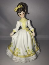 Lefton China Girl Figurine #06044 Hand Painted White/Yellow/Green Dress - $20.74