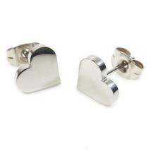 Pair Stainless Steel Heart Post Stud Earrings - $8.10