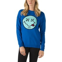 Women's L Lg Vans Yodelay Sweater Top Sweatshirt New Nwt Blue Smiley Face Knit - $55.63