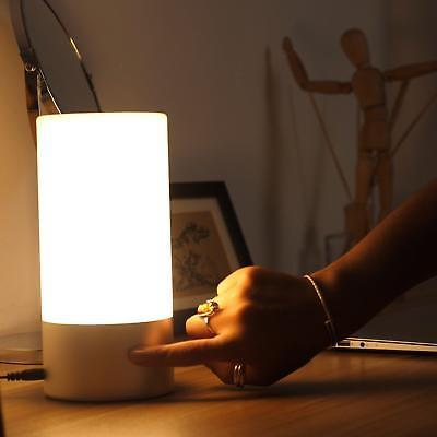 Table Lamp Touch Sensor Bedside Lamp Dimmable White Light Color Changing RGB