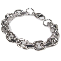 "Stainless Steel Faceted Cable Chain Mens Bracelet  9.5mm 9"" - $9.00"