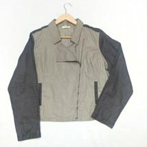 EILEEN FISHER    Color Block Asymmetrical Moto Jacket Organic Linen XL -... - $84.14