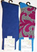 Alfani Spectrum Mens 2 Pair Multi Color Filigree Cobalt Blue Crew Socks NEW - $9.85