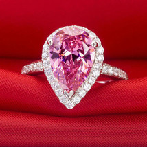 Certified 3.30Ct Pear Cut Pink Sapphire & Diamond 14K White Gold Engagem... - $311.80
