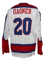 Custom Name # New Haven Nighthawks Retro Hockey Jersey Gagner White Any Size image 2