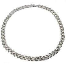 "Stainless Steel Striped Wire Curb Chain Necklace 13mm 35"" - $34.80"