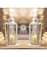 2 White Starlight Candle Lanterns w/ Clear Glass & Star Cutouts at Top 8... - $34.95