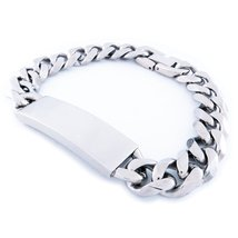 "Stainless Steel Faceted Curb Chain Plain ID Bracelet 11mm 8"" - $15.99"