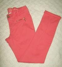 So Girls Pants Sz 12 Pink Melon Zip Pockets Stretch Skinny Casual School  - $18.58