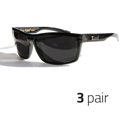 78b102fb19 Locs Authentic Sunglasses Super Dark Lenses Motorcycle OG Style Black Mens  (3pc) -  34.99